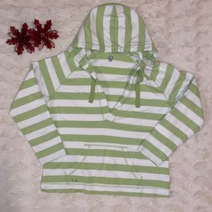 Green and white striped hoodie - XL